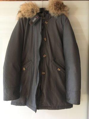 Woolrich Cappotto invernale marrone-grigio Pelliccia