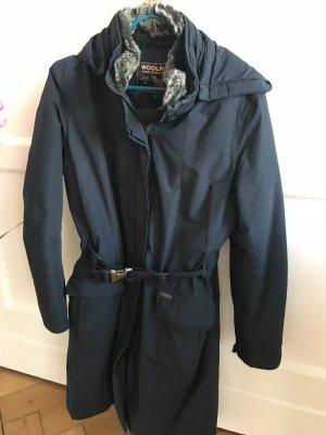 Woolrich Manteau en duvet bleu foncé-ocre tissu mixte