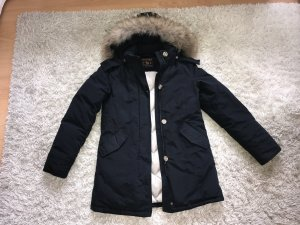 Woolrich Parka Navy Marine Fell Pelz Daunen Winterjacke Luxus Mantel Top