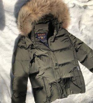 Woolrich Parka, Winterjacke Größe M / 38, Khaki echt Pelz