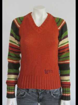 Woolrich Pull col en V orange-vert