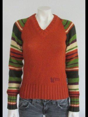 Woolrich V-Neck Sweater orange-green