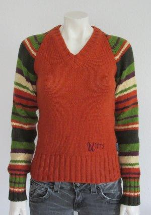 Woolrich Pullover Gr. XS V-Ausschnitt Logostickerei