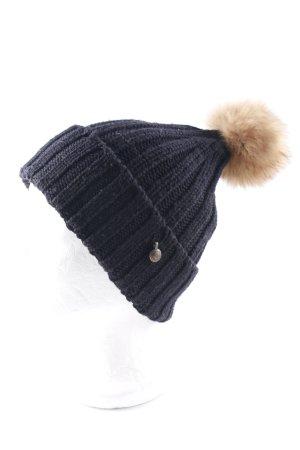 Woolrich Cappello a maglia nero-sabbia stile casual