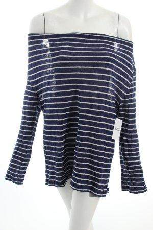 Woolrich Strickpullover dunkelblau-weiß Streifenmuster Casual-Look