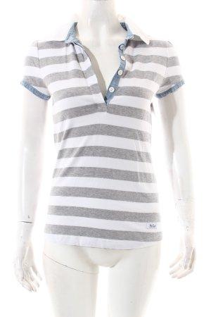 Woolrich T-Shirt weiß-hellgrau Streifenmuster Casual-Look