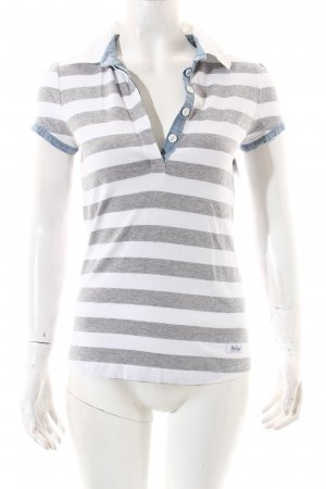Woolrich T-Shirt white-light grey striped pattern casual look