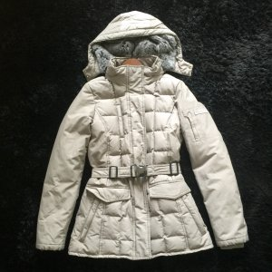 Woolrich Winterjacke mit Kapuze gefüttert mit Kaninchenfell in grau