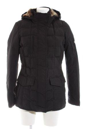 Woolrich Manteau d'hiver noir motif de courtepointe style décontracté