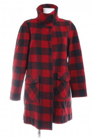 Woolrich Wollmantel rot-schwarz Karomuster Casual-Look