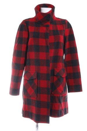 Woolrich Cappotto in lana rosso-nero motivo a quadri stile casual