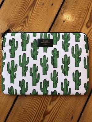 Sacoche d'ordinateur blanc-vert tissu mixte
