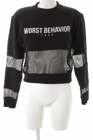 Worst Behavior Suéter negro letras impresas look Street-Style