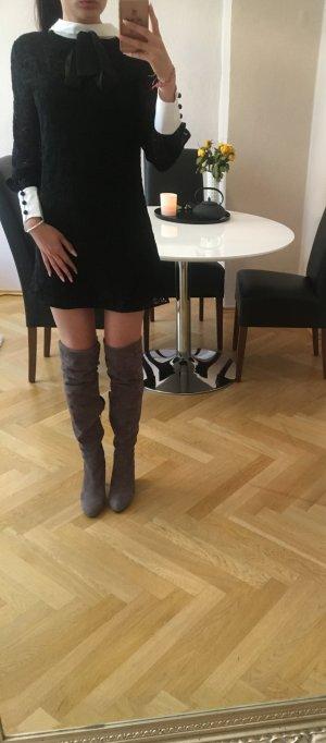 Zara Kanten jurk zwart-wit Katoen