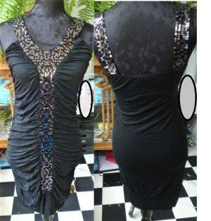 WOW! Gr. S/M sexy elastisches Kleid schwarz mit leicht glitzernden silbernen Pailletten sauber und gepflegt, dehnbar KOFFERTAUGLICH