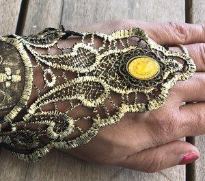 WOW NEU Steampunk Armband Spitze schwarz Gothic Halloween mit einem verstellbaren Rosen Ring Armstulpe Pirat RETRO Vintage Lace Karneval Fasching Hexe Moon Gloves
