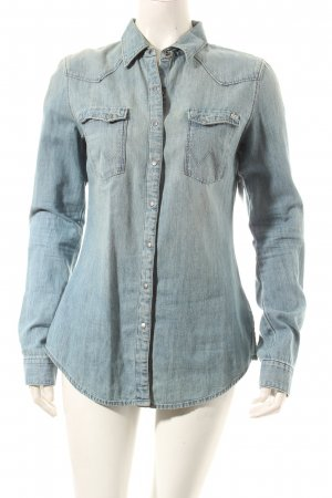 Wrangler Jeansbluse blassblau Country-Look