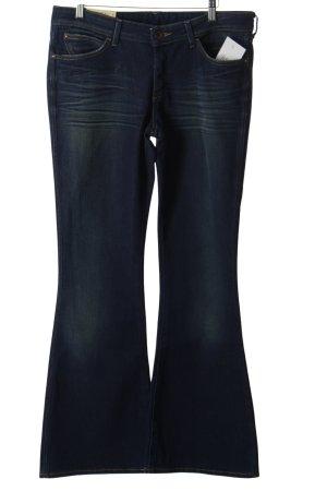 Wrangler Jeansschlaghose dunkelblau-wollweiß schlichter Stil