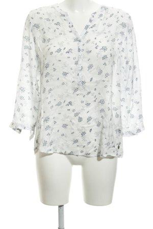 Wrangler Langarm-Bluse weiß-dunkelblau florales Muster Casual-Look