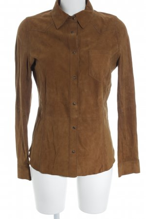 Wrangler Leren shirt lichtbruin casual uitstraling