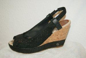 Wrangler Plateauzool sandalen zwart Katoen