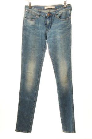 Wrangler Skinny Jeans kornblumenblau Used-Optik