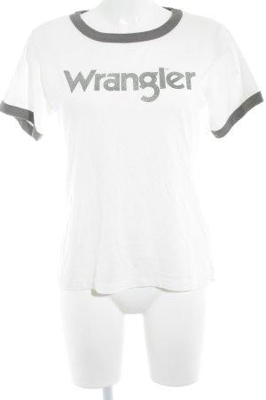 Wrangler T-Shirt weiß-grau Schriftzug gedruckt Casual-Look