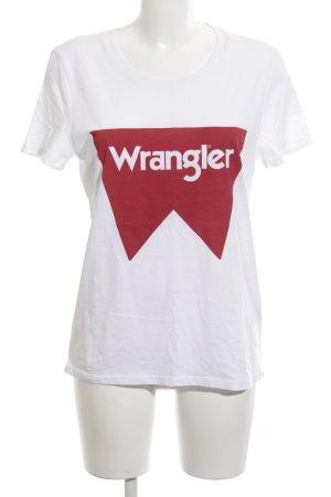 Wrangler T-Shirt weiß-rot Motivdruck Casual-Look