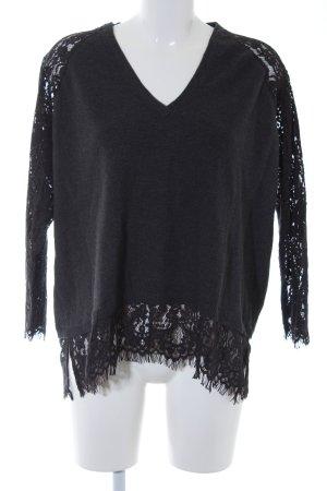 Wrap V-Ausschnitt-Pullover anthrazit Casual-Look