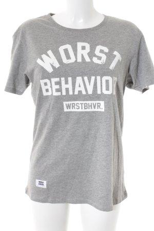 WRSTBHVR T-Shirt weiß-grau Schriftzug gedruckt sportlicher Stil