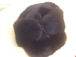 Sombrero de piel marrón-negro Piel