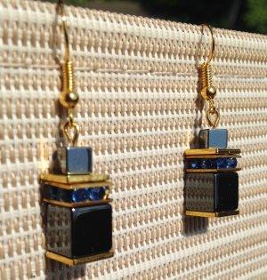 Würfel Ohrringe Ohrhänger Hämatit Blau Gold