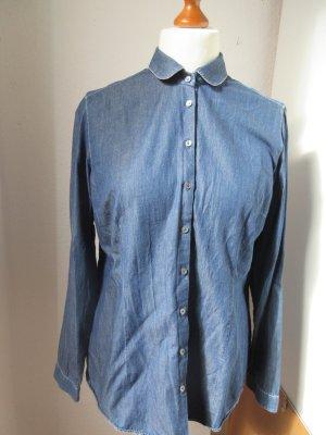 van Laack Blouse en jean violet foncé-bleu coton