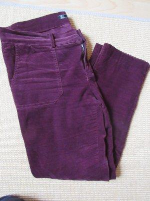 Zara Pantalón de tubo burdeos-carmín Algodón