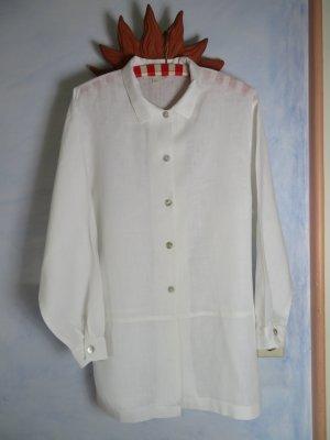 wunderbare weiße 100% Leinenbluse Long Bluse Gr. 40 Jacqueline Riu France