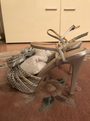 Pour la victoire High-Heeled Sandals silver-colored rayon