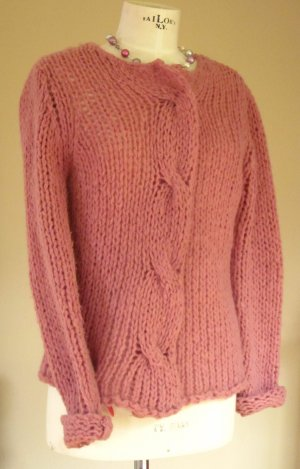Sandwich Coarse Knitted Jacket dusky pink mixture fibre