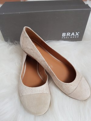 Brax Bailarinas plegables beige claro-camel Cuero