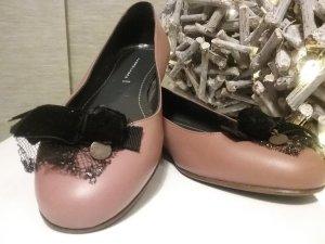 Schumacher Peep Toe Ballerinas dusky pink leather