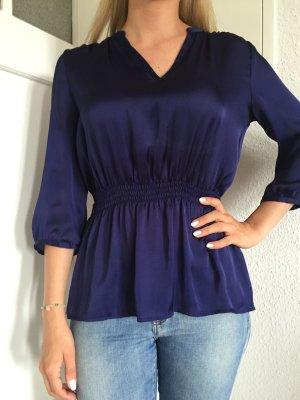 Wunderschöne blaue Bluse im glänzendem Satin-Stoff