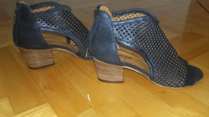 High-Heeled Sandals steel blue leather
