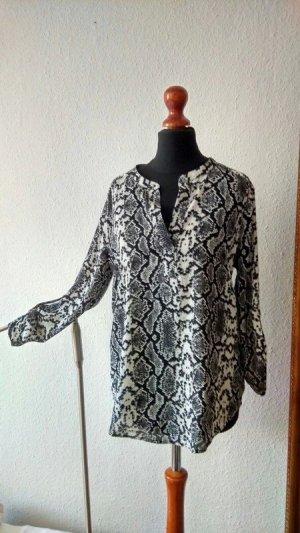 Wunderschöne Bluse mit angesagtem Schlangenprint, schwarz/weiß von Daniel Rainn!