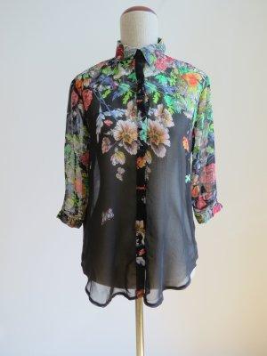 Wunderschöne Bluse mit Blumenmuster und Kragen