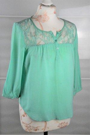 wunderschöne Bluse mit Spitzeneinsatz Gr. S mint grün Vero Moda