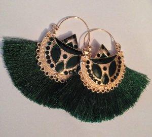 Wunderschöne Boho Ethno Luxus Statement Quasten Ohrringe Antik Grün Funkeln!! NEU