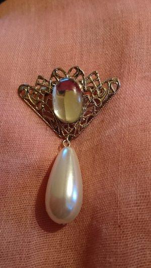 Wunderschöne Brosche Silberfarbe mit Glasstein und Perle