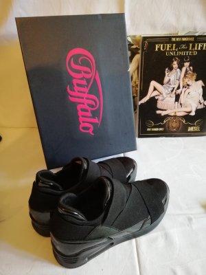 Wunderschöne BUFFALO Sneakers / Slipper. Schwarz Lack-Neopren. Gr. 37. Neu /OVP