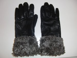 Roeckl Leather Gloves black-grey brown leather