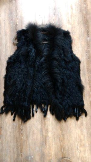 wunderschöne Fellweste schwarz Neu One Size