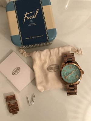Fossil Watch With Metal Strap gold-colored-turquoise